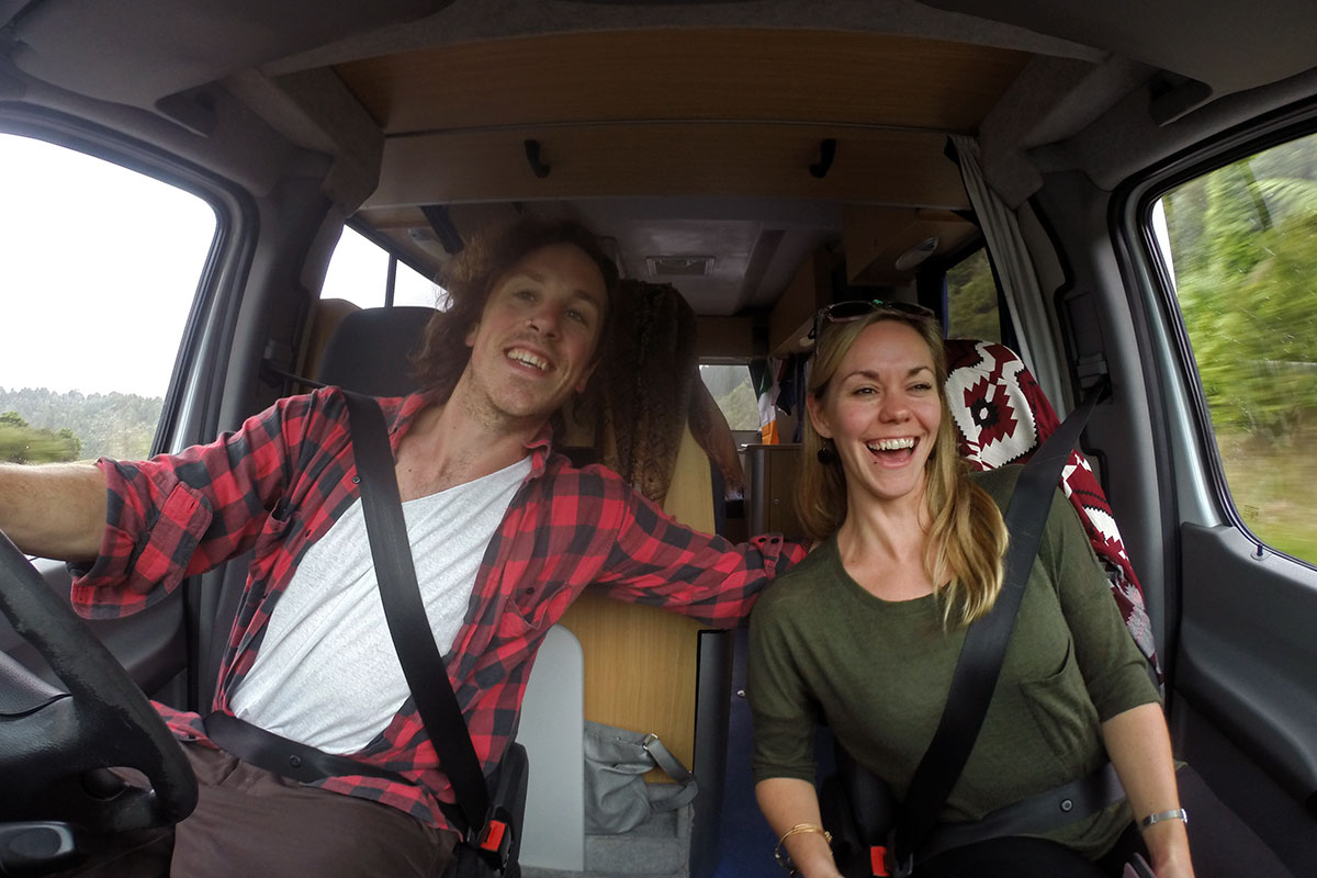 Behind the wheel of the Mighway Camper in New Zealand