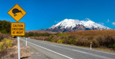 Kiwi sign near the road leading to the volcano Mt. Ruapehu, national park Tongariro. New Zealand.